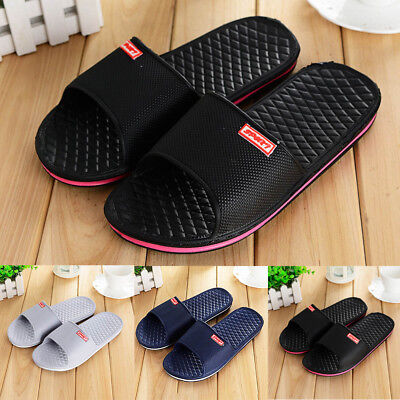 Fashion Mens Solid Flat Bath Slippers Summer Sandals Indoor & Outdoor Slippers