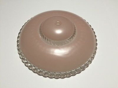 Vintage Art Deco Pink Frosted Heavy Glass Ceiling Light Shade / Cover.