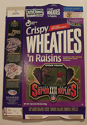 Wheaties Super Bowl XXIX Super Replays Steve Young Cereal Box 1996