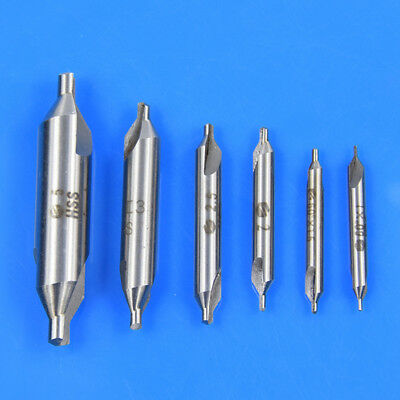 6 Pc Premium HSS Center Drill Set 60°Combined Countersink 1,1.5,2,2.5,3,5mm Pack