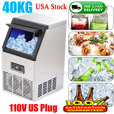 40KG Auto Commercial Ice Cube Maker Stainless Steel Bar Restaurant Machine 200W