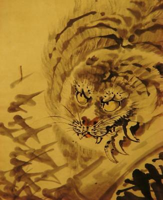 "JAPANESE HANGING SCROLL: Antique ""Fierce Tiger"""" by Kishi Ganku, c.1780, Edo"