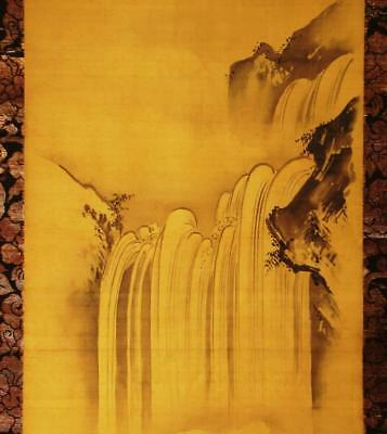 "JAPANESE HANGING SCROLL: Antique ""Waterfall"" by Kano Tanyu,c.1650, Edo Period"