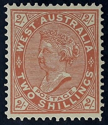 Rare 1911- Western Australia 2/-  Brown Red on Yellow Postage stamp Mint