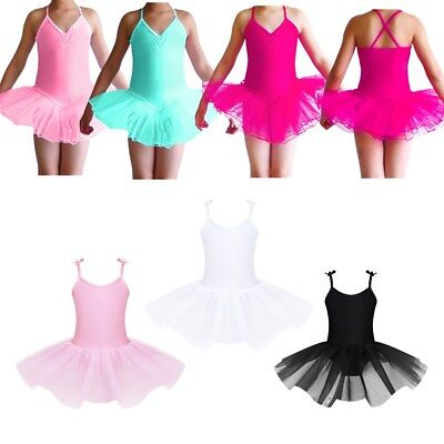 Kid Girls' s Ballet Tutu Skirt Gymnastics Camisole Leotard Dress Dancing Costume