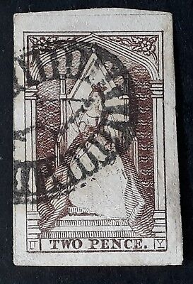 1852 Victoria Australia 2d Reddish Brown Queen on Throne Imperf stamp Used