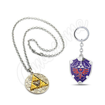 The Legend of Zelda Magic Coin Link Chain Necklace + Hylian Shield Keychain 2pcs