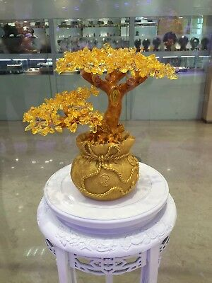 Money Wealth Bag Feng Shui Lucky Tree Natural Yellow Citrine Crystal Tree