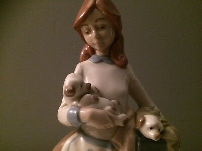 nadal porcelain figurine girl holding puppies excellent condition height 27cm