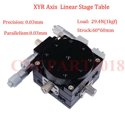 60x60mm Linear Stage Table XYR Axis Manual Displacement Trimming Platform CNC