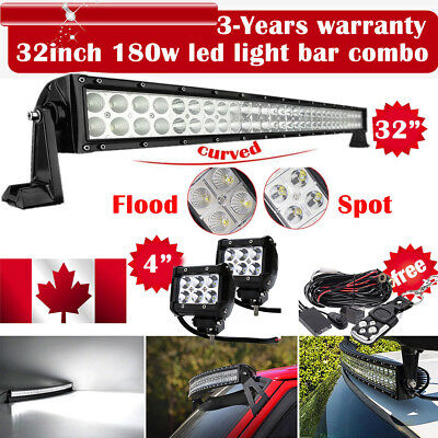 """DOT 32inch Curved Led Light Bar +2X 4""""  Pods Offroad Ford Jeep SUV Truck 30"""""""