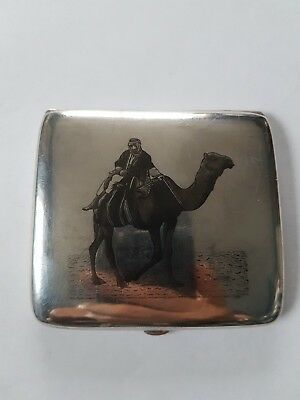 Early Iraq Middle East Silver and Niello Cigarette case.