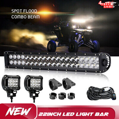 22inch 120W Curved LED Light Bar +2X 4'' 18W SPOT Work Offroad 12V 24V+Wire
