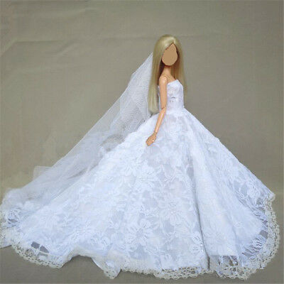 Handmade Fashion Princess Wedding White Dress Cloth Gown+veil for Barbie Doll