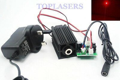 NEW Adjustable 200mw 650nm Red Dot Laser Diode Module w Fan + 12V Adapter