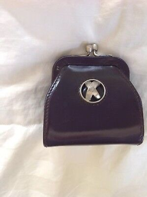 Paloma Picasso Eggplant Genuine Embossed  Leather Coin Purse Made in Italy