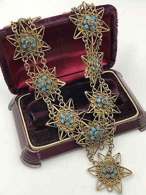 Antique Vintage Turquoise Flower Clusters Brass Stars Unique Stunning Necklace V