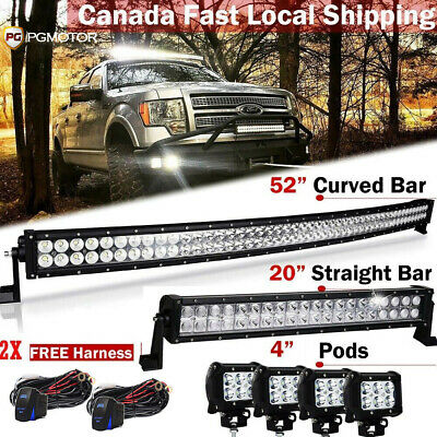 """DOT 52"""" inch Curved LED Light Bar + 22""""+ 4""""  Pods Offroad Truck 4WD SUV"""