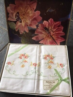 Vintage Unused Embroidered Bolster Set 2 Pillowcases And One Bolster