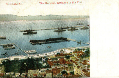 1900s postcard The Harbour Entrance to Port GIBRALTAR