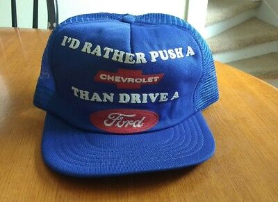 NOS I'd Rather Push A Chevy Than Drive A Ford - VTG Snapback Trucker Hat Cap USA
