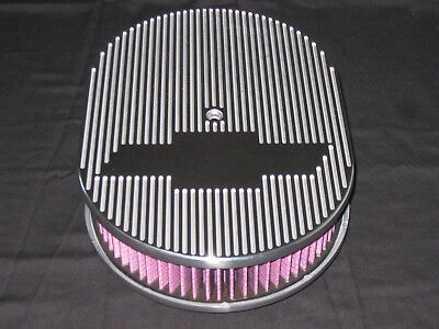 Ghost BowTie Chevy or Ford 12 Inch Oval Air Cleaner T 6061 Aluminum K&N Filter