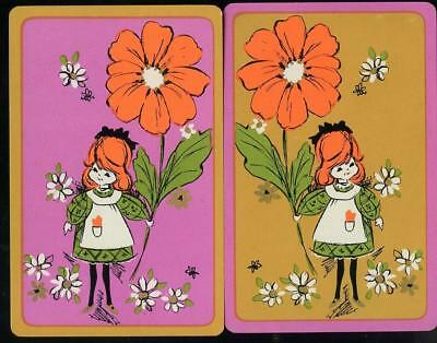 Little Girl With Big Flower Swap Card Pair Brand New