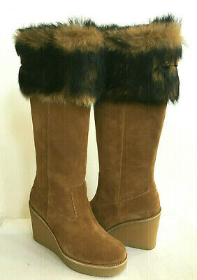 3bdf70fca08 UGG VALBERG TOSCANA Fur Cuff Suede Wedge Tall Boots Boot NEW ...