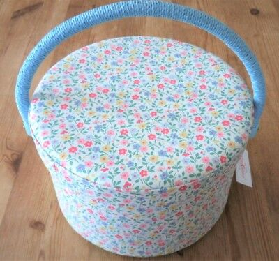 Cath Kidston Sewing Box Gorgeous Round Floral Design Spring Rare & Collectable!