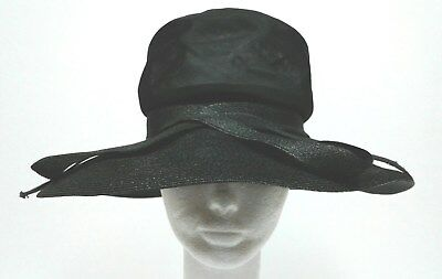 Vintage Wide Brim Black Hat~Christian Dior Chapeaux Paris~New York~