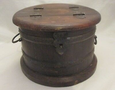 A Vintage North African Wooden Coopered Barrel - Bread / Spice Box