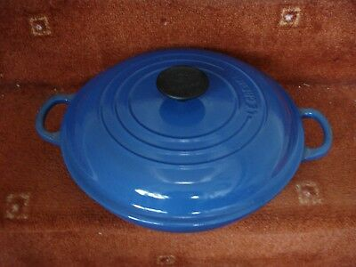 Le Creuset Blue Cast Iron Lidded Twin Handled Pan Size 26, New Unused