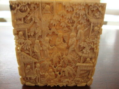 Antique Carved Chinese/Cantonese Card Case with Village Scene