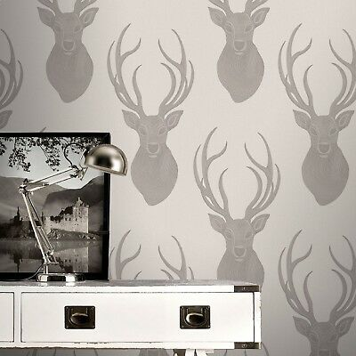 Wallpaper Rasch - Textured Luxury Glittered Beaded Stags Head - Taupe - 273700