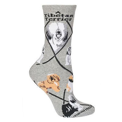 Tibetan Terrier Dog Breed Gray Lightweight Stretch Cotton Adult Socks