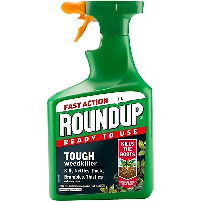 Roundup Tough Weedkiller Spray (Ready to Use), 1 L Nettles Brambles Thistles