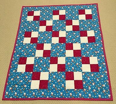 New Handcrafted Cotton Aqua/Magenta Little Kitty 4-Patch Baby Quilt