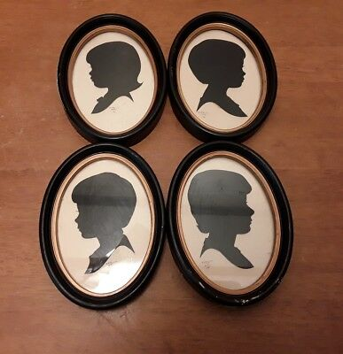 4 1981 Oval Framed Child Silhouttes