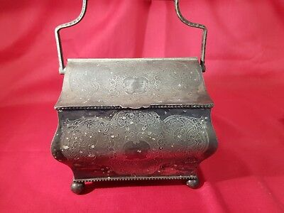 an antique victorian silver plated tea caddy with engraved patterns.rare.