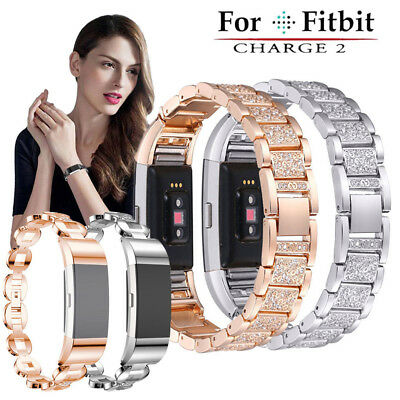 For Fitbit Charge 2 Smart Watch Crystal Stainless Steel Watch Band Wrist Strap