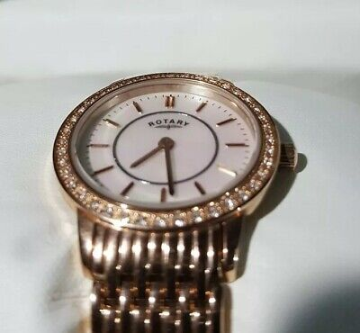 86d1593830ef Rotary Ladies Rose Gold Plated Diamond Set Bracelet Watch LB00244 41