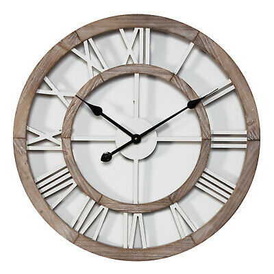 Round MDF Wood & Metal Wall Clock Cut Out Dial 62.5cm