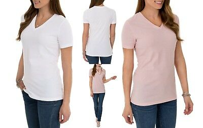 3bf9eb73b9c Time and Tru Women s Essential Short Sleeve V-Neck T-Shirt Size S Multiple