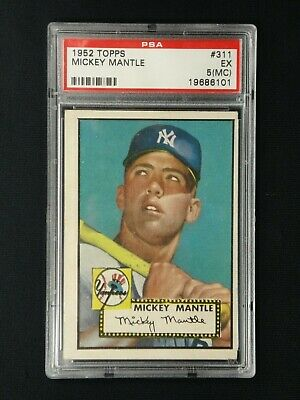 Mickey Mantle 1952 Topps #311 Rookie Card Psa Graded Excellent 5 (Mc)