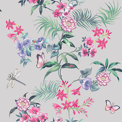 Wallpaper Crown -  Tropical Flowers Luxury Floral Design - Carmen Silver - M1346