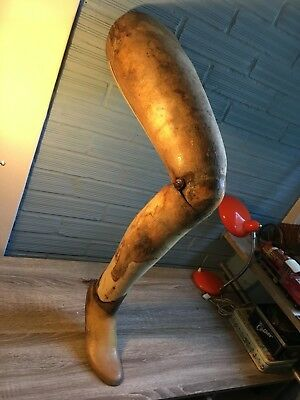 Antique Prosthetic Leg Limb Wooden Right Foot War Medical Vintage Bendable