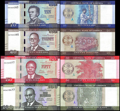Liberia 10 -100 Dollars 4 Pieces Banknote Set, 2016, P-32-35, UNC, Head of State
