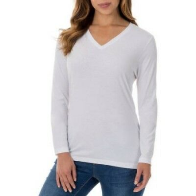 Faded Glory Women's Essential Long Sleeve V Neck T-Shirt Size L White