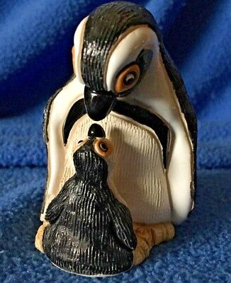"PENGUIN! Glazed Clay Adult and Chick COAD Peru Hand Crafted 3"" VTG"