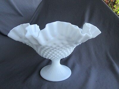 """Fenton Hobnail Milk Glass 10 1/4 """" Tall footed Bowl / Comport"""